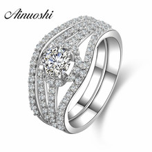 AINUOSHI Luxury Queen Halo Ring 925 Sterling Silver 4 Prongs Round Cut Bridal Ring Engagement Wedding Women Jewelry Ring Set