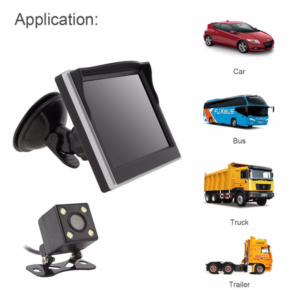 5 Car TFT LCD Rear View Monitor 800*480 2 Way Video Input + 170 Degrees Wide Angle Lens Night Vision Rear View Camera