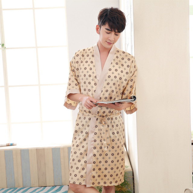 Bathrobe Mens Man Bathrobe Satin Silk Robes For Men Bathrobe Men Kimono Robe Sexy Bathrobe Mens Silk Bathrobe 356