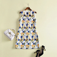 HIGH QUALITY New Fashion 2018 Runway Dress Women S Sleeveless Charming Chic Flowers Appliques Tank Dress