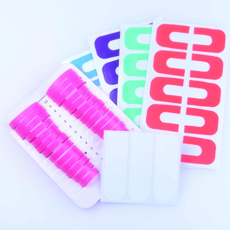 לק קצה נגד הצפה תבנית קליפ פלסטיק אצבע כיסוי צרפתית מדבקות מניקור כלים אביזרי סט