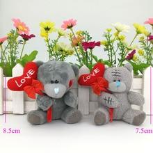 7,5 см, 8,5 см, мягкие плюшевые игрушки на День святого Валентина, плюшевый мишка с дубинкой в форме сердца, мягкие игрушки, 10 шт./лот, подарок на день Святого Валентина