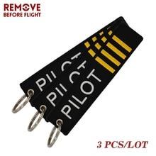 Fashion Motorcycle Keychain Aviator Flight Follow Me Chain Jewelry Embroidery Pilot Key Ring Aviation Gift Holder 3 PCS/LOT