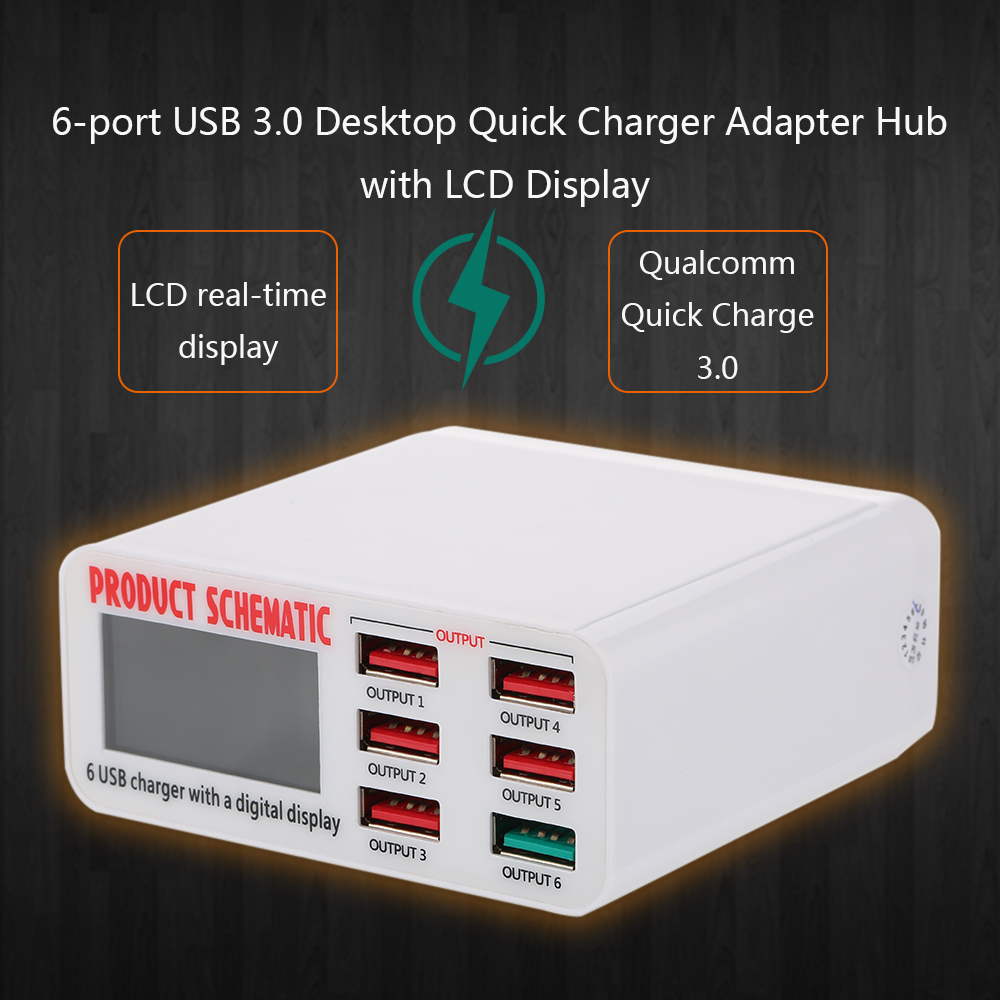 Quick Charge 3.0 6-Port 6A USB Desktop Charger Adapter Hub Multi Port USB Wall Charger Dock Station with LCD Display Intelligent portable travel power strip surge protector with 4 smart usb ports multi port wall charger desktop hub charger socket qj