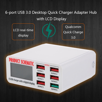 Quick Charge 3 0 6 Port 6A USB Desktop Charger Adapter Hub Multi Port USB Wall