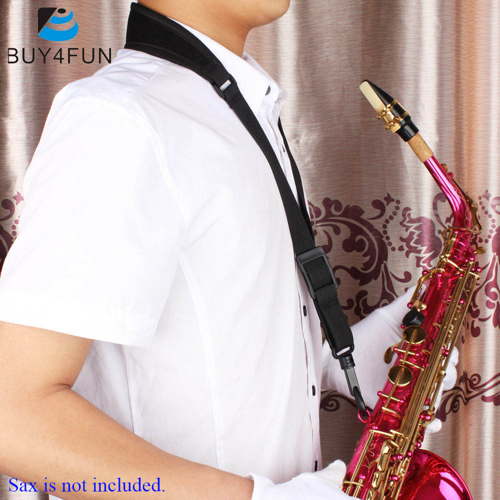 Adjustable Saxophone Sax Neck Strap Cotton and Nylon Strap Padded with Hook Clasp Light-weight and Compact