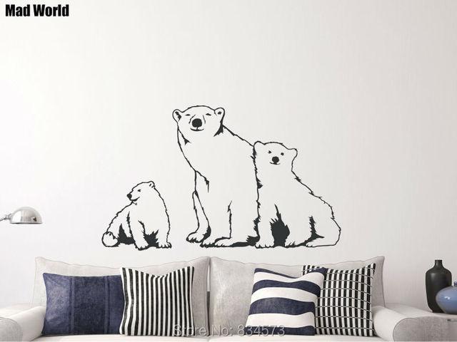 mad world animal polar bear family nursery wall art stickers wall