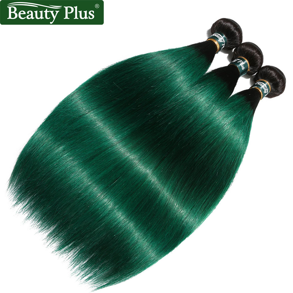 Ombre 1B Green Brazilian Hair Weave Bundles 3 Pieces Straight Human Hair Extensions Pre-Colored Two Tones Dark Roots Non Remy