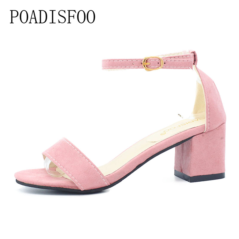 все цены на POADISFOO Summer Think Mid Heel Dress Sandals Rough With The Fish Head Word Buckle Sandals open-toed Sandals European .HYKL-997