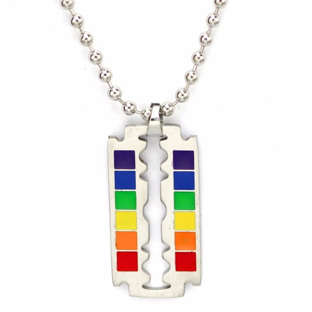 Transgender mens necklace gay pride rainbow blade design pendant transgender mens necklace gay pride rainbow blade design pendant silver chain plate stainless steel lgbt fashion altavistaventures Image collections