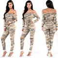 2017new fashion sexy Camouflage jumpsuit women off shoulder bodysuit bandage jumpsuit backless hole Camouflage jumpsuits
