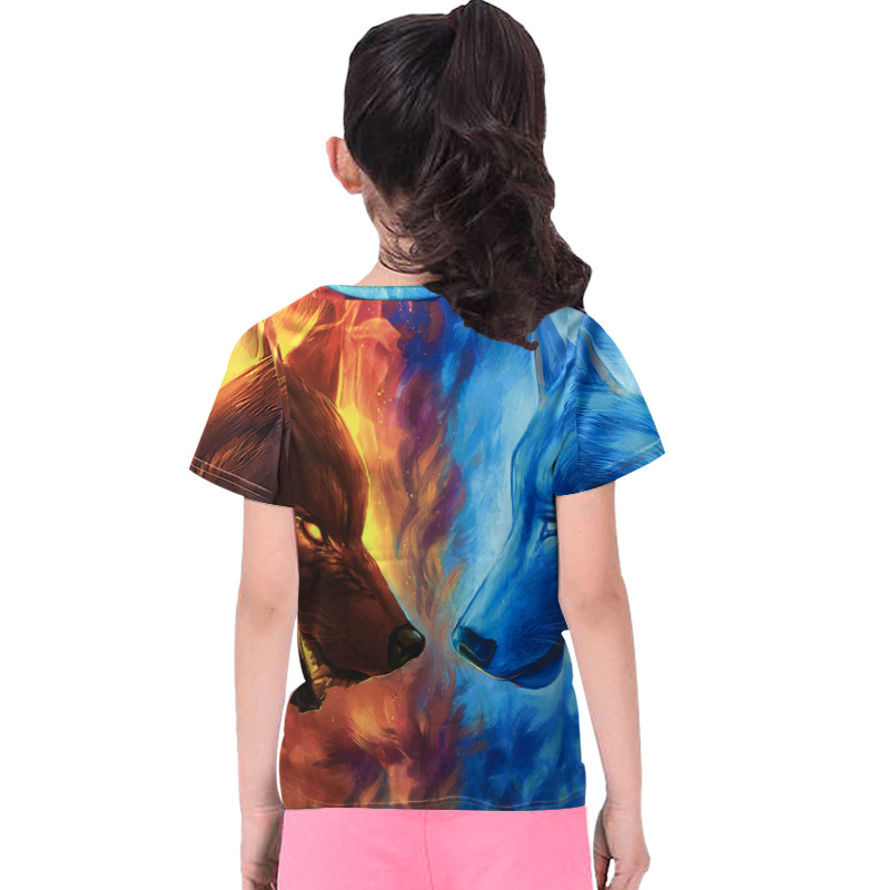 Fashion Children Animal Print Ice Fire Wolf 3D T Shirt Boy Girl Top Summer Short Sleeve Round Neck Tshirt 2019 New Kids Clothes in T Shirts from Mother Kids