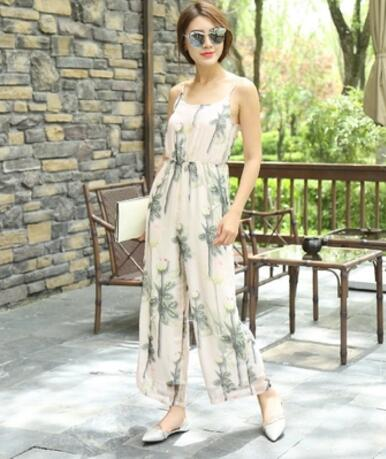 Jumpsuit for Women 2018 Summer Party Overalls Rompers Chiffon Bohemian Sling Strapless Elegant Printed Full Length Bodysuit 2XL