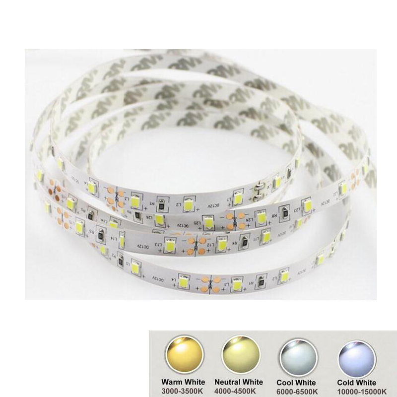 12V 2835 LED Strip Light Warm White Cool White Nature White No-Waterproof 60LED/m 5m/Roll Shipping Via Aliepxress Air Mail