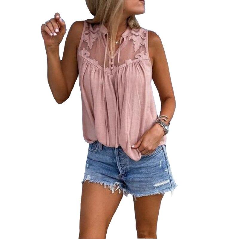 09f2db176 Flor de encaje Patchwork mujeres Blusas sin mangas de cuello en V blusa  camisas sólido suelto ...