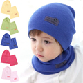 6 Colors! Winter Children Hedging Cap + Scarf Suit Leather Standard Solid Color Candy-Colored Baby Hat Knitted Cotton Hats