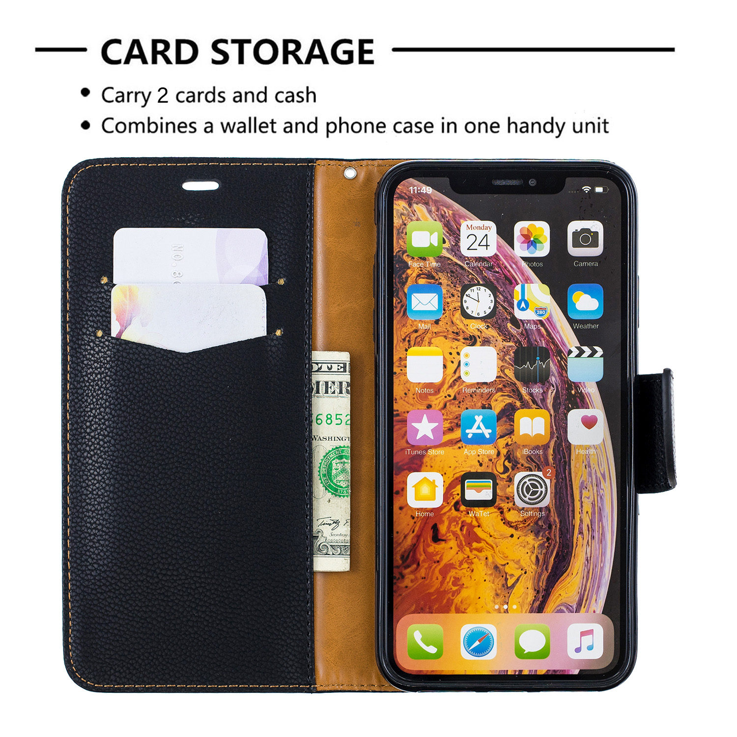 Image 5 - Wallet Phone Case for iPhone 11 Pro Max Xr X Xs Max 8 7 6 6s Plus Flip PU Leather Cover Stand Magetic Closure with Card Holder-in Flip Cases from Cellphones & Telecommunications