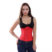 187be055bef Sapubonva women print white red waist cincher corset underbust tops corset  plus size corset shapewear korsett