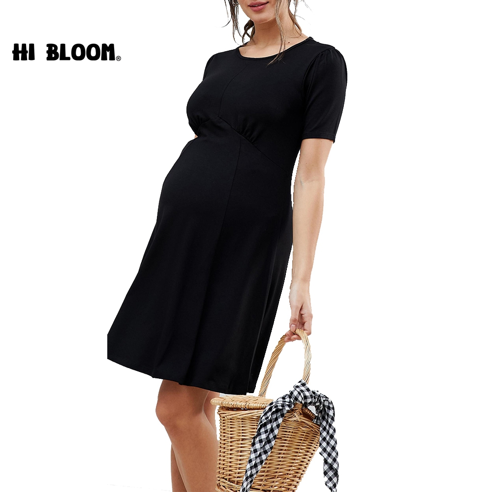 Maternity Dresses Summer Maternity Clothes Tencel Pregnancy Dress Casual Lady Dress Black Short Sleeve dress for pregnant women women s side ruched maternity clothes striped bodycon dress mama summer casual short sleeve wrap dresses pregnancy clothes
