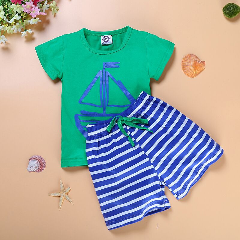 Мода от 0 до 3 лет Детская одежда якорь с изображением рыбы Одежда для маленьких мальчиков и девочек с коротким рукавом хлопковые шорты компл...