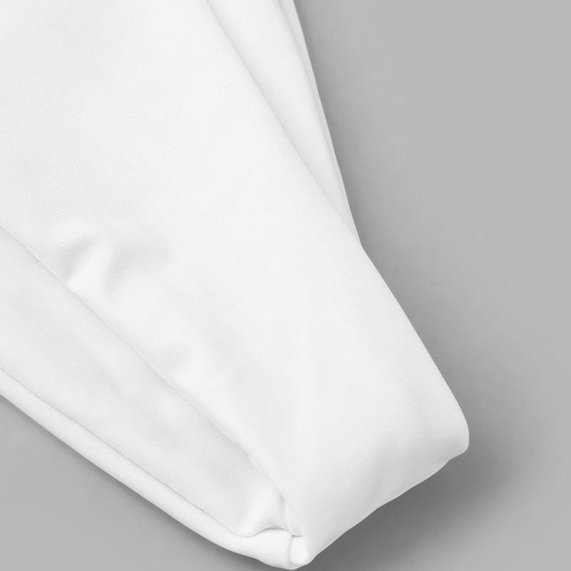 Romwe Sport White Self Tie Halter Thong Bikini Set and Knot Mesh Cover Up 3pack Women 19 Summer Beach 3 Pieces Sexy Swimwear 7