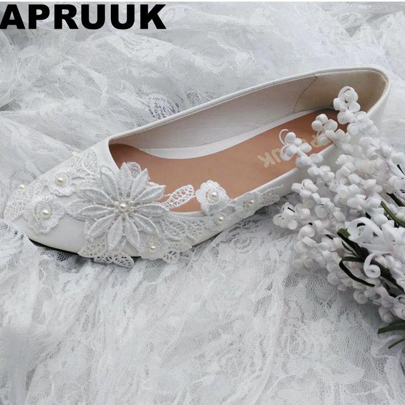 SALES PROMOTION! Ivory lace flower flats wedding shoes women's flat heel bridal wedding shoes plus size drop shipping