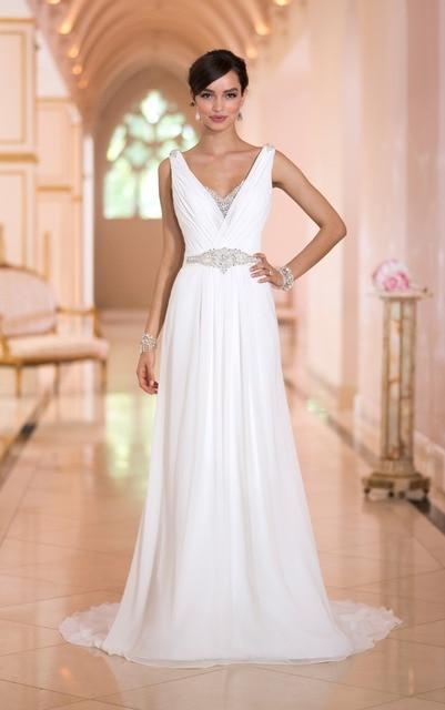 7a2bfde0 The best Luxy Decoraitiontradition elegant sheath wedding dress Diamante  beading sash shoulder straps Chiffon pleating court tra