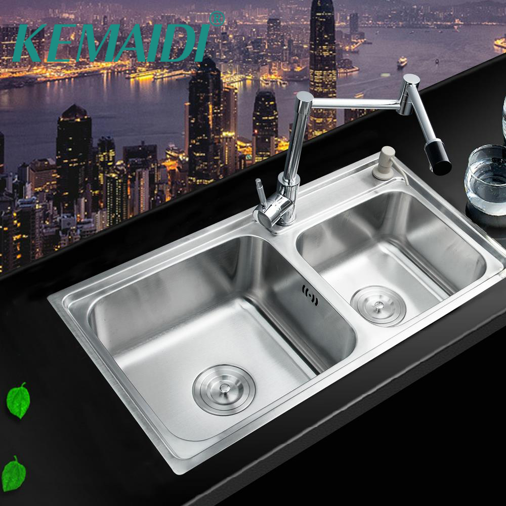 KEMAIDI évier de cuisine en acier inoxydable cuve cuisine lave vaisselle Double bol en laiton pivotant cuisine évier robinet ensemble de cuisine