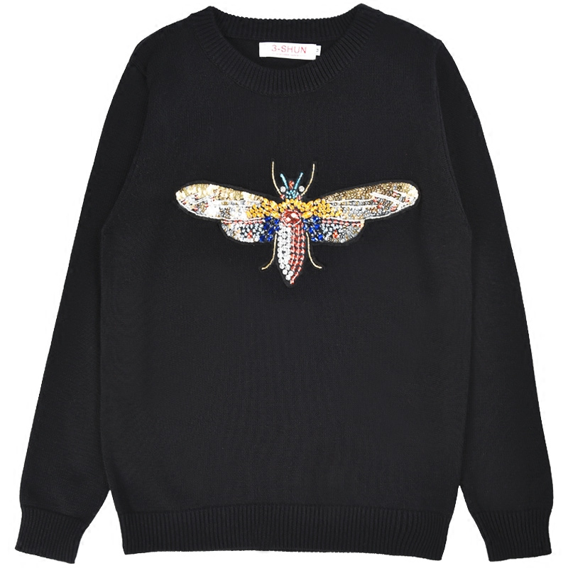 18 Luxury Brand Autumn Winter Black Sweaters and Pullovers Knitted Women Long Sleeve Dragonfly Diamond Jumper Tops Clothes 2
