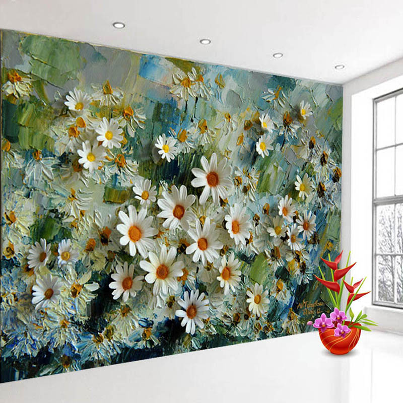 Custom 3D Photo Wallpaper Murals Floral Stereoscopic Oil Painting Living Room TV Backdrop Wall Papers Home Decor Prints Wall Art