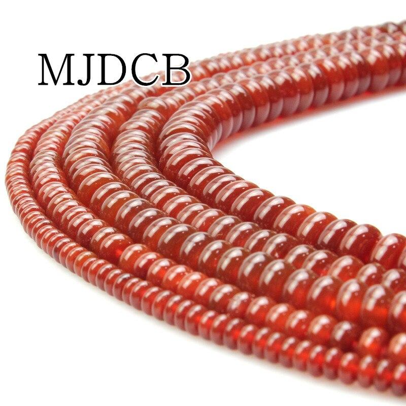 MJDCB гладкие бусы Красный Агаты бусины натуральный камень для DIY цепочки и ожерелья браслеты ювелирных изделий