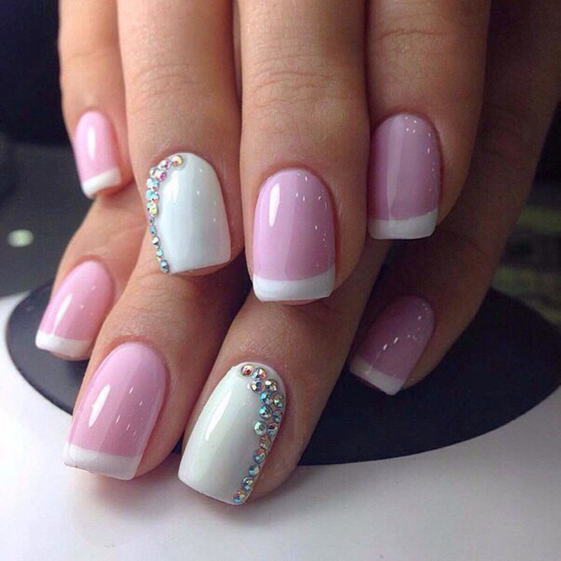 Perfect Summer Nail Gel French Manicure Pink White Color UV Gel ...