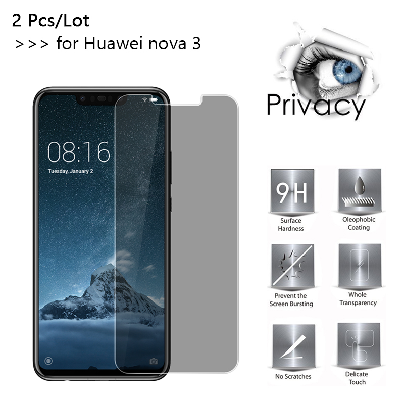 2 Pcs/lot For Huawei Nova three 2.5D Arc Edge Anti-Spy Privateness Tempered Glass For Huawei Nova three 6.three Inch Display screen Protector Movie