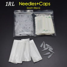 1R (nåler + tips hver 50pcs) Promotional Professional Permanent Makeup Machine Nåler Med Tips Caps