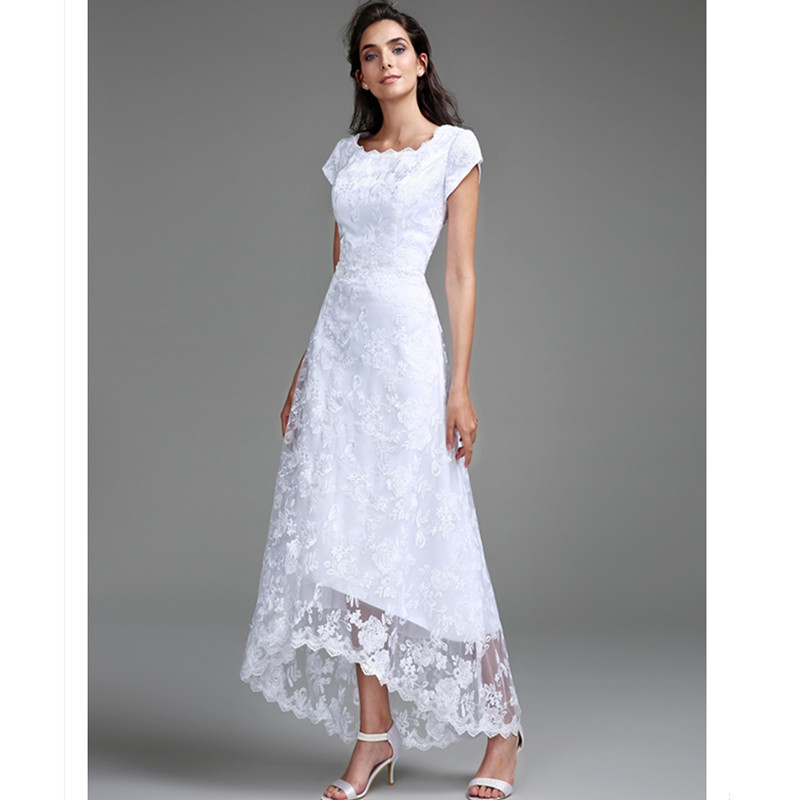 Simple Ankle Length Lace Wedding Dresses White Three: LAN TING BRIDE Sheath Column Wedding Dress Short Sleeves