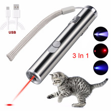 Mini lazer Red Laser Pointer USB Rechargeable 3 In 1  Pen Flashlight Charging UV Torch Pen Flashlight Multifunction Lamp недорого