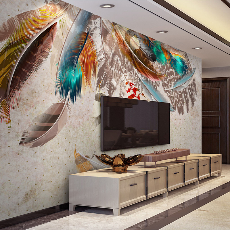 Custom Mural Wallpaper Fashion Colorful Feather Photo Wall Paper Living Room TV Background Home Decor Abstract Art Wall Painting shinehome 3d fantastic colorful balloons embossed wallpaper background mural rolls for kids living room wall paper decal art