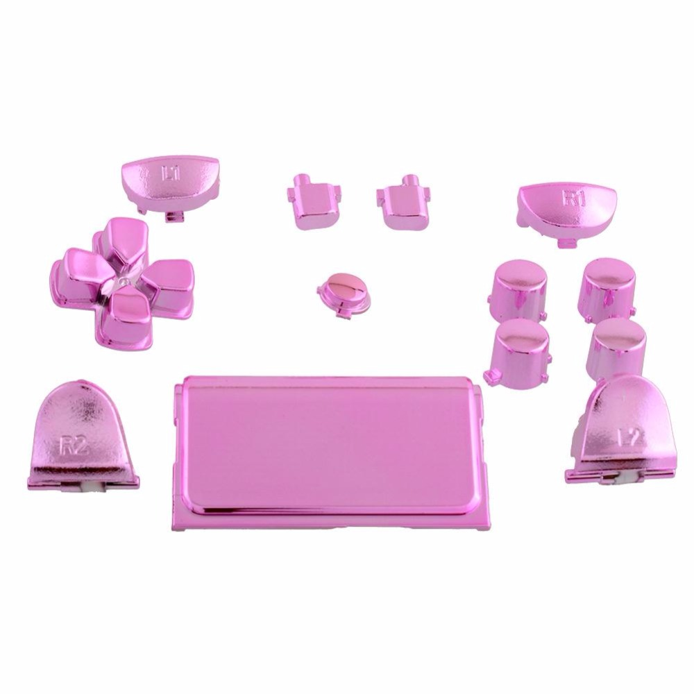 Gasky Full Buttons Mod Kits Chrome Pink For PS4 Video Game Console Controller Gamepad Joystick Kid Replacement Accessories Gift