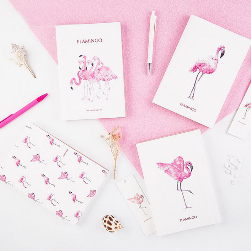 Kawaii Flamingo 2018 Schedule Notebook Monthly Planner Organizer A5 Notebook Efficiency Manual cagie a5 schedule plan notebook creative stationeryplan notebook efficiency manual notebook notepad 1pcs