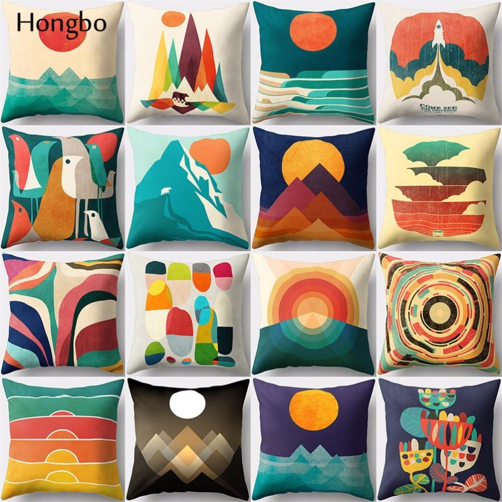 Hongbo 1 Pcs Creative Sun Birds Mountain Printed Pillow Case Cushion Cover Bed Pillowcase for Car Sofa Home Decor
