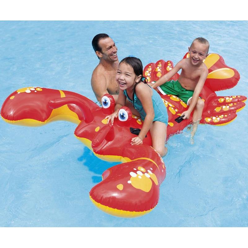 Enfants enfant inflatabl 213*137 cm grand homard rider gonflable jouet animal rider pour piscine plage jouet air tapis salon B40010