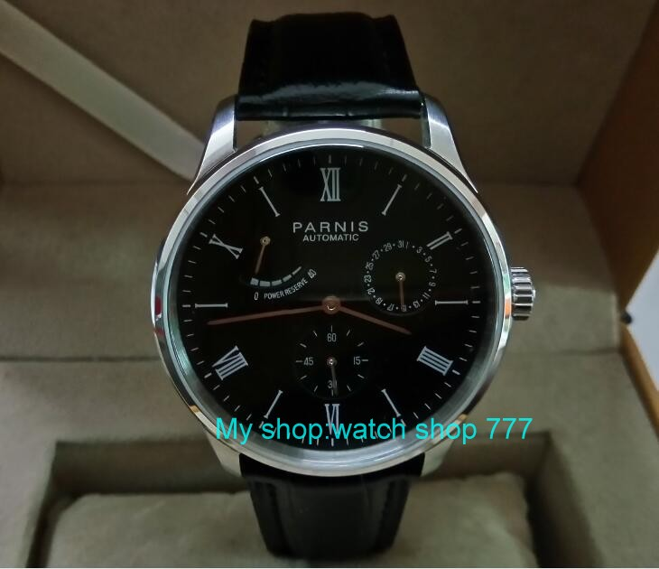 PARNIS 40mm black dial Automatic Self-Wind movement power reserve mens watch Auto Date Mechanical watches wholesale 325aPARNIS 40mm black dial Automatic Self-Wind movement power reserve mens watch Auto Date Mechanical watches wholesale 325a