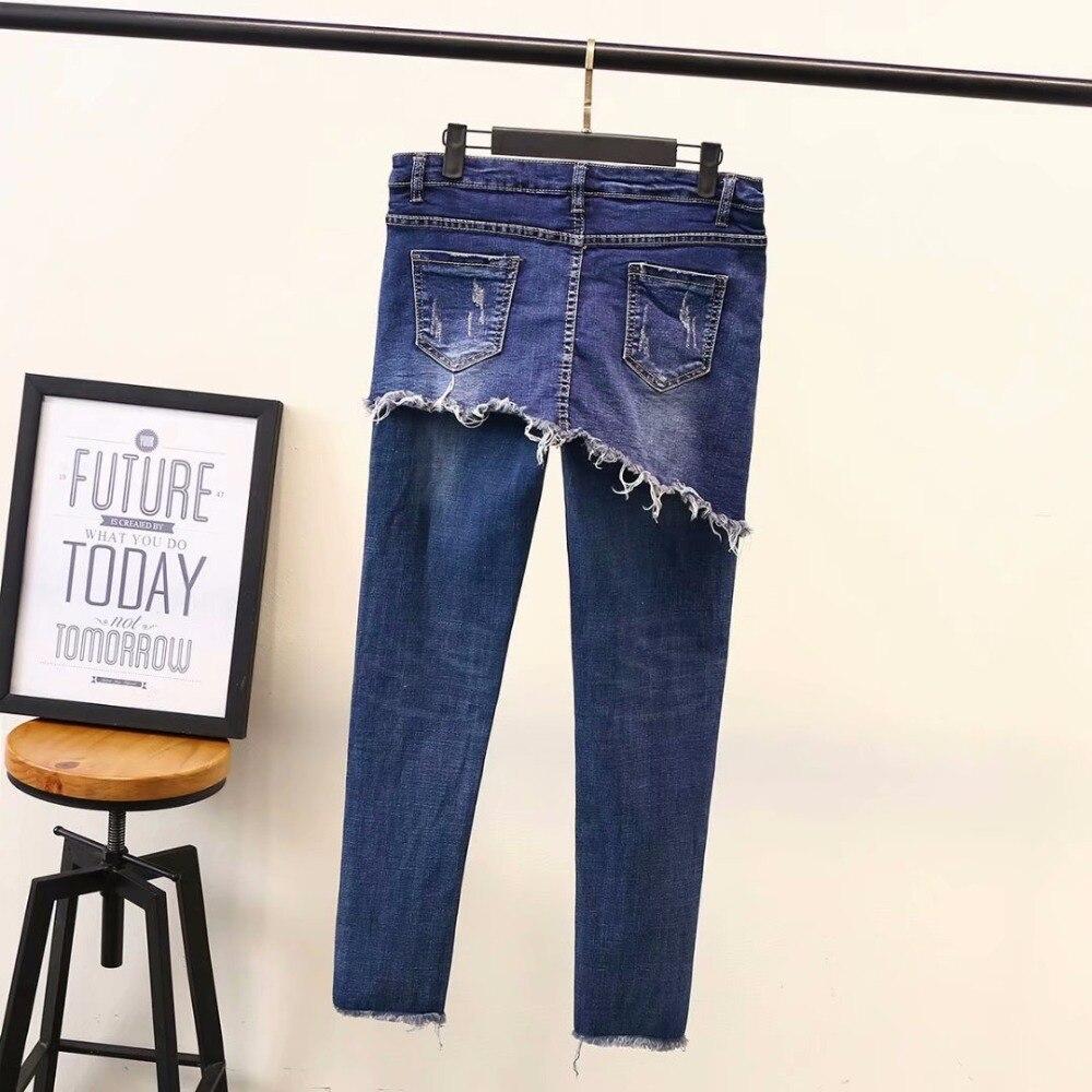 One Piece Jeans High Street Denim Pencil Pants Women Tassel Scratched Jeans Blue Trousers KKFY2926 in Jeans from Women 39 s Clothing