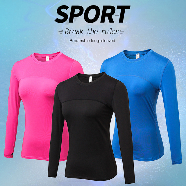 4447e97b YD Women Quick Dry Running Tops Long Sleeve T-shirts Body Shaper Yoga Gym  Compression Tights Sport Top Fitness T-Shirts