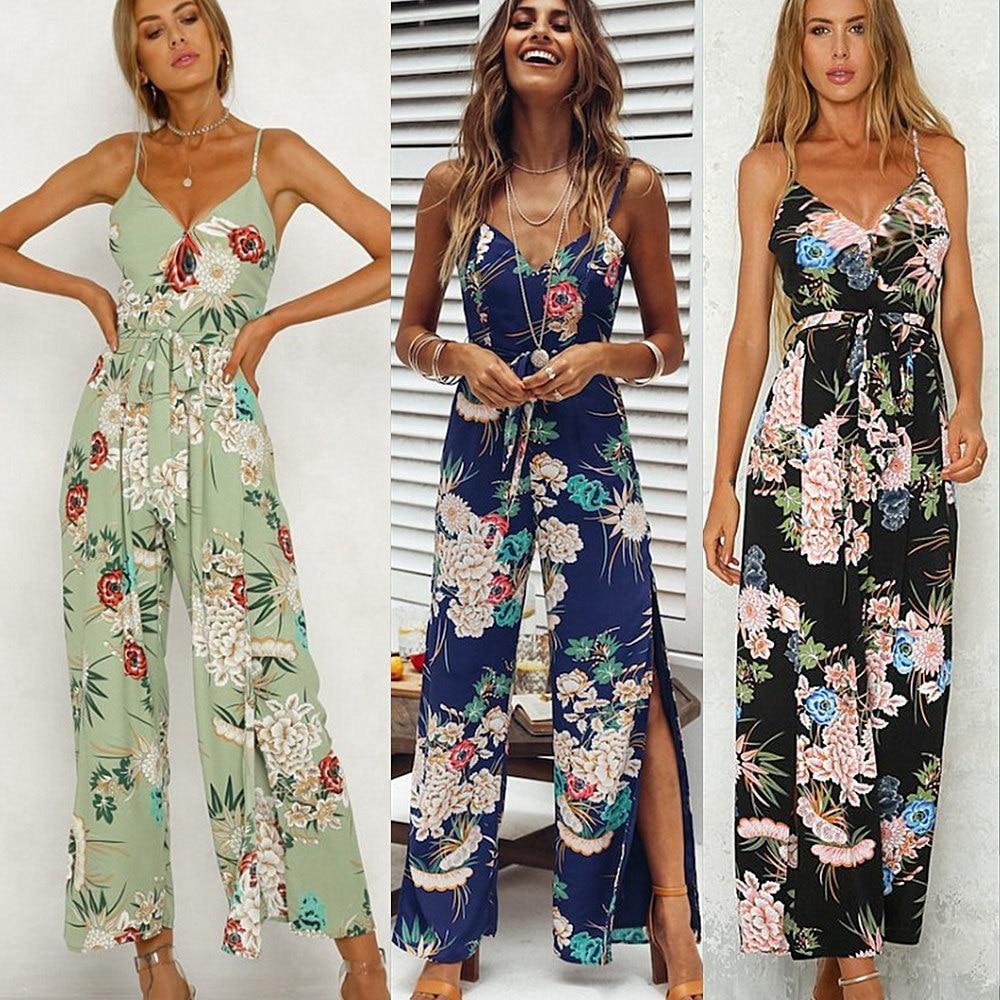 FORERUN Summer Floral Backless Jumsuits V Neck off shoulder Boho Romper Side Slip Long P ...