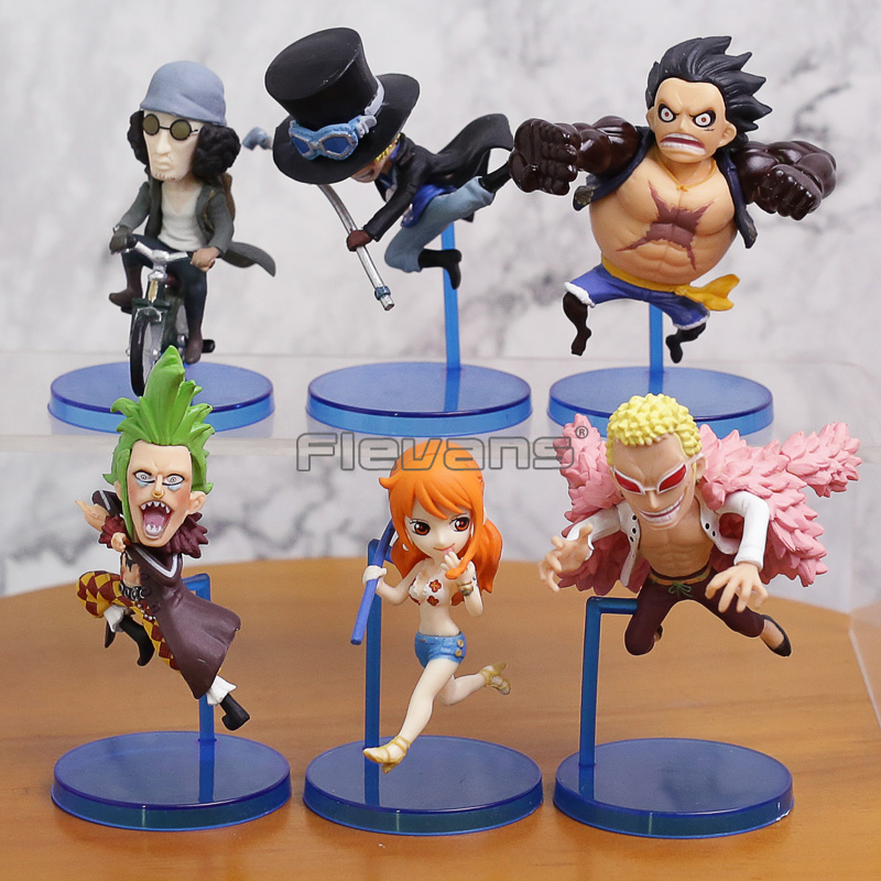 6pcs/set Anime One Piece WCF Luffy Nami Kuzan Hancock Running Ver Figure Model Collection Toys anime one piece p o p sexy nami action figure pole dance bb swimsuit ver pvc collection model 23cm