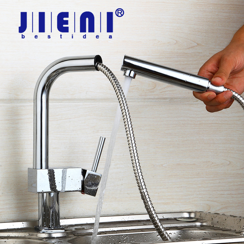 DE 360 Swivel Kitchen Tap Stream Pull Out Spout Kitchen Sink Faucet Polish Chrome Brass Countertop Tap Hot & Cold Mixer Taps new arrival pull out kitchen faucet chrome black sink mixer tap 360 degree rotation kitchen mixer taps kitchen tap