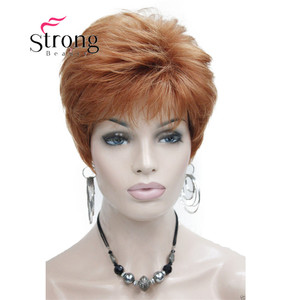 Image 2 - StrongBeauty Very Short Orange Brown Blonde High Heat Resistant Full Synthetic Wig COLOUR CHOICES