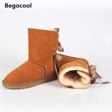 Begocool 2017 New Australia Women Boots Classic Nubuck Leather Snow Boots Winter Boots Shoes Big Plus Size 35-44