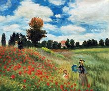 Poppy Field in Argenteuil by Claude Monet Handpainted